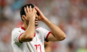 Mehdi Taremi of Iran after missing a chance to score.