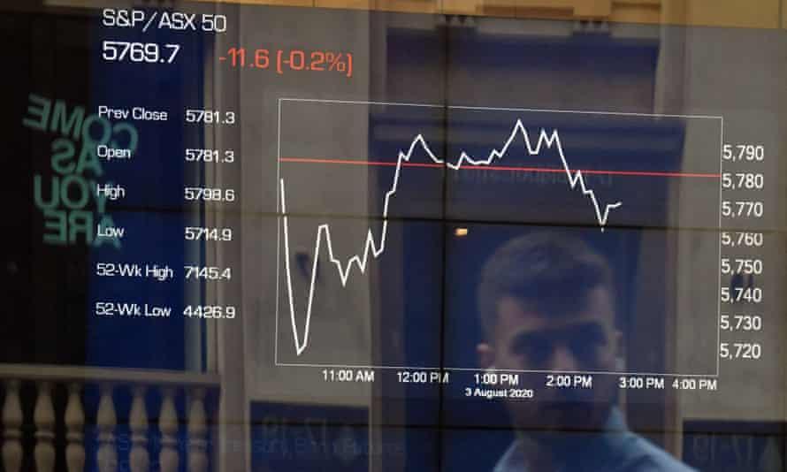Australian Stock Exchange screen in the city
