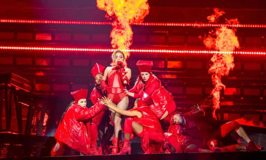 Lady Gaga performing.