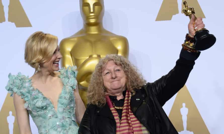 Jenny Beavan, with Cate Blanchett, celebrates winning an Oscar.