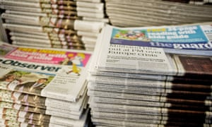 Copies of the Guardian and the Observer in the papers' London offices.