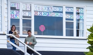 Jackie Shea and Fraser Colson, with their coronavirus lockdown tally in Wellington, New Zealand