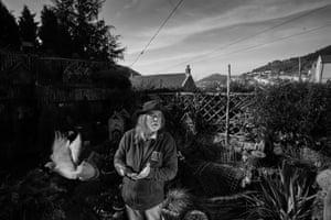 Ex-miner Steve Dean, 66, in his garden in Six Bells, South Wales