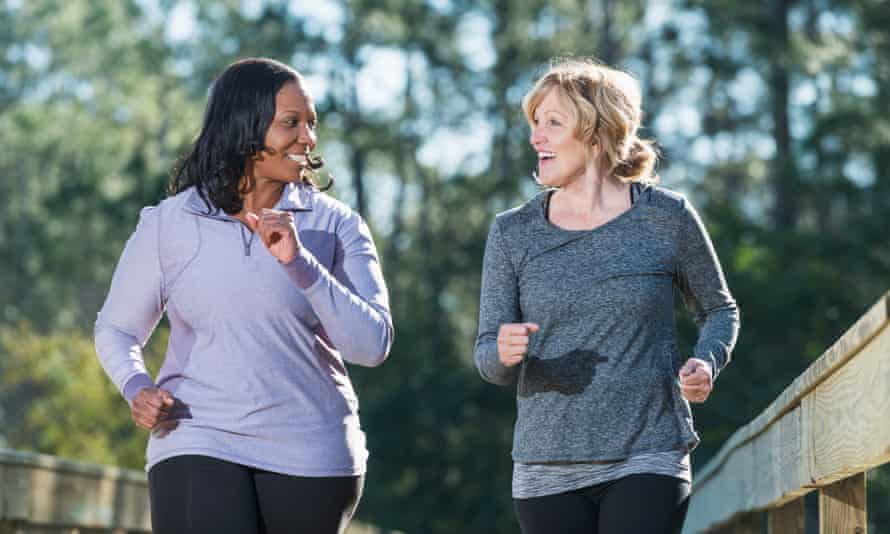 Middle-aged women jogging