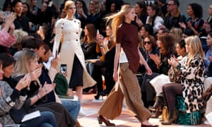 Models present Phoebe Philo's newest creations for Celine as part of its autumn/winter collection show.