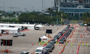 The testing station at Hard Rock Stadium. With a daily capacity of only 400 tests, it takes authorities fewer than 120 minutes to exhaust their limited supply of throat swabs.