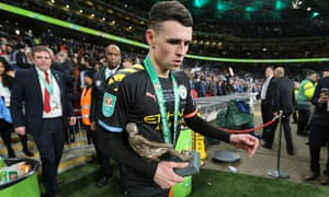 Phil Foden carries off the man of the match award