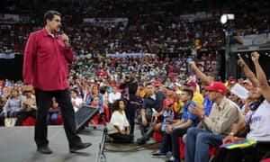 Nicolás Maduro speaks at the rally in Caracas.