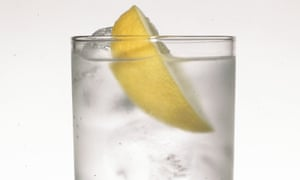 Photograph of vodka and tonic.