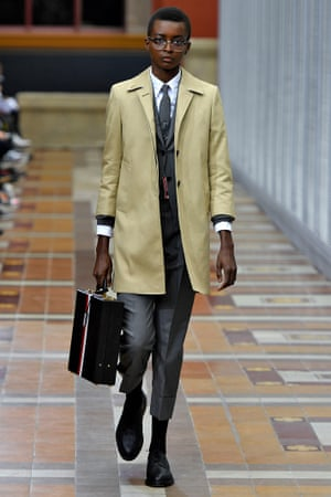 A suit from Thom Browne's collection of women's suits