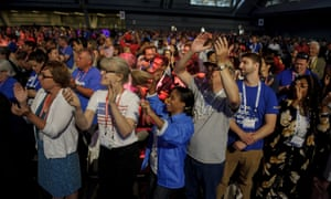 The audience reacts to former Secretary of State Hillary Clinton during her speech at the annual convention of the American Federation of Teachers on Friday, in Pittsburgh, Pennsylvania.