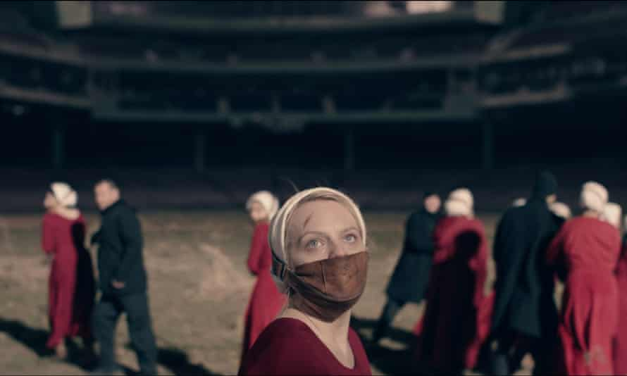 Don't say a word... Elisabeth Moss in The Handmaid's Tale.