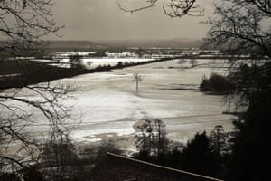 Hereford, UK: Standing flood water on fields in the aftermath of Storm Dennis