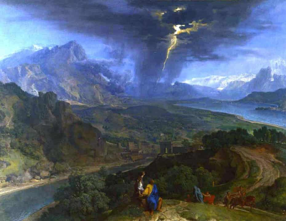 Francisque Millet - mountain landscape with lightning.