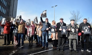 Families of those killed during Bloody Sunday march through Bogside today in Londonderry, Northern Ireland.