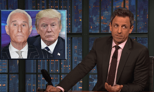"""Seth Meyers: """"Remember, Trump brags that he only hires the best people, calls the Russian investigation a hoax, calls CNN fake news, and his government shutdown left FBI agents without pay. So it was especially ironic when one of Trump's closest associates was arrested by unpaid FBI agents working for the special counsel on the Russia investigation, and the whole thing was caught on tape by CNN."""""""
