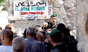 Israeli police restrict entry to the Al-Aqsa mosque in Jerusalem.