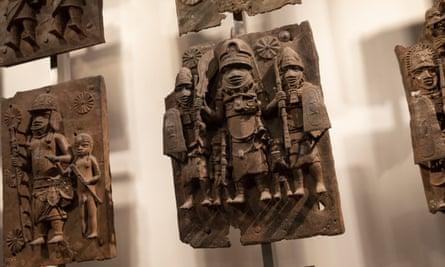 Plaques from the royal palace of Benin on display in the British Museum
