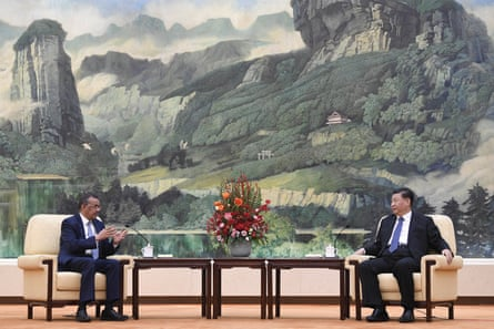 Tedros Adhanom Ghebreyesus, director general of the World Health Organization, meets with Chinese President Xi Jinping in Beijing