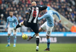 Shelvey isn't quick enough to close down Kevin De Bruyne as he fires in the second for City.