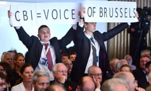 Vote Leave protesters heckling during David Cameron's speech to the CBI.