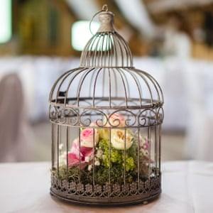 Birdcage with pink and yellow roses