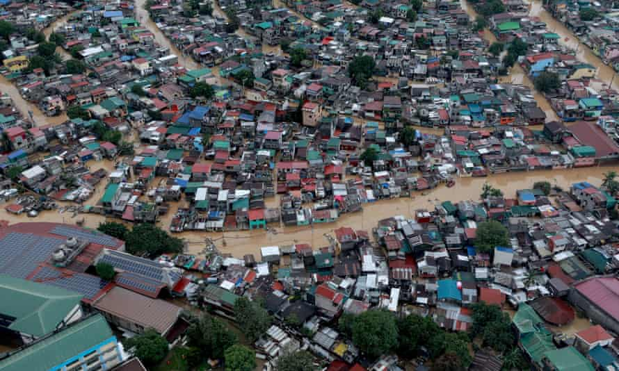 An aerial view of the flooding in Manila