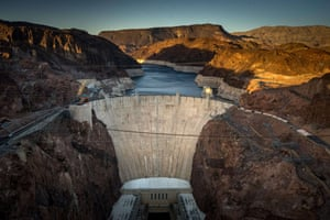The Hoover Dam, in the Black Canyon of the Colorado river on the border between Arizona and Nevada, impounds Lake Mead, the largest reservoir in the US by volume.