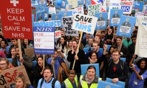 Demonstrators at a Save the NHS rally in central London on 1 December.