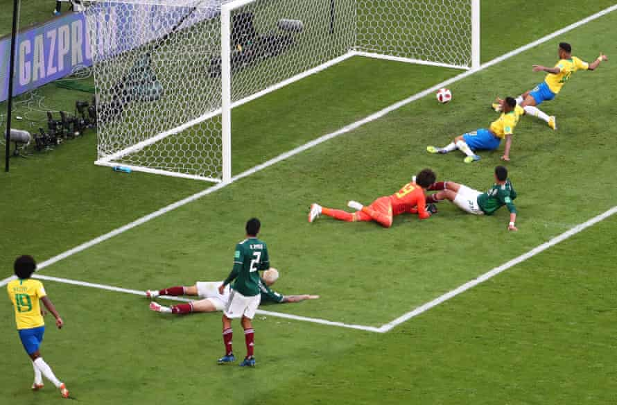 Neymar turns in Willian's low cross at the far post after Gabriel Jesus narrowly failed to get the final touch and score his first goal of the tournament.