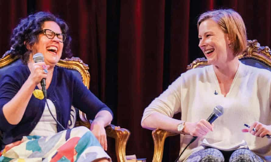 Annabel Crabb and Leigh Sales performing their podcast Chat 10 Looks 3 live