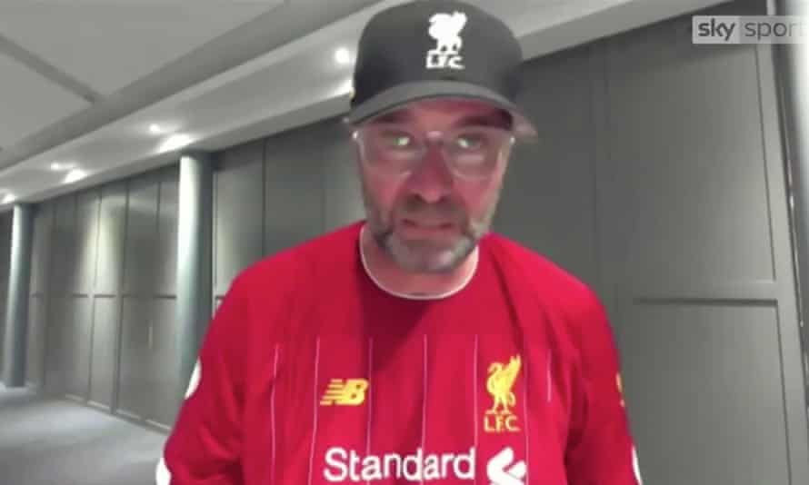 An emotional Jurgen Klopp during an interview following his Liverpool team being crowned Premier League champions