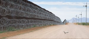 2020 World Press photo contest nature singles second prize: Roadrunner Approaching the Border Wall by Alejandro Prieto