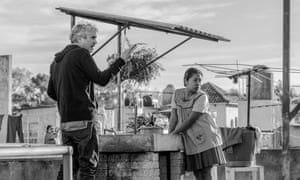 Best director nominee Alfonso Cuarón and actress Yalitza Aparicio on the set of Roma.