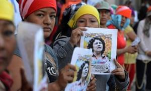Lenca indigenous women protest against the murder of Honduran environmentalist Berta Cáceres