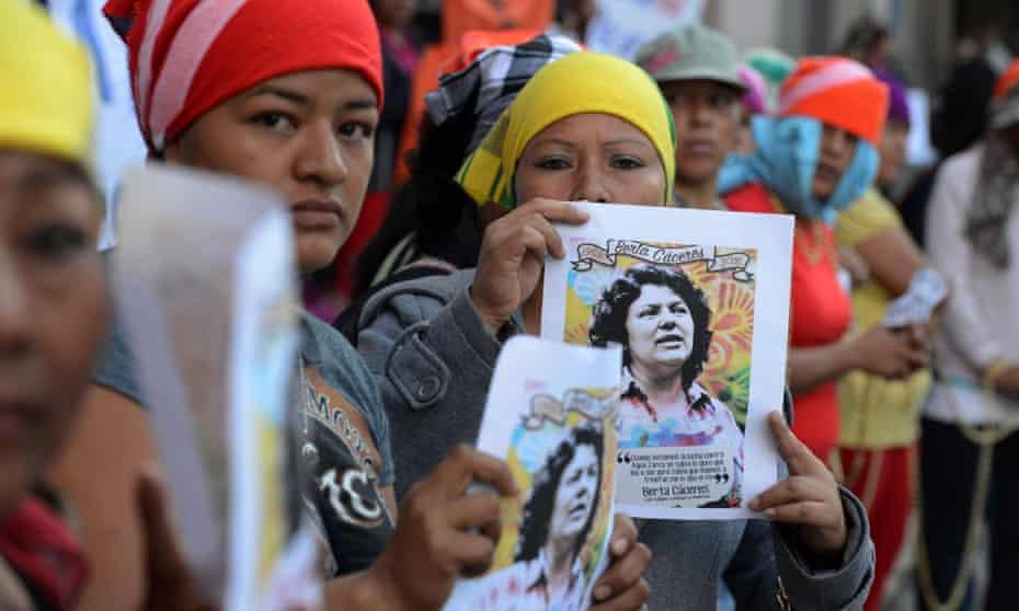 Indigenous Lenca women protest against the murder of Berta Cáceres last year.
