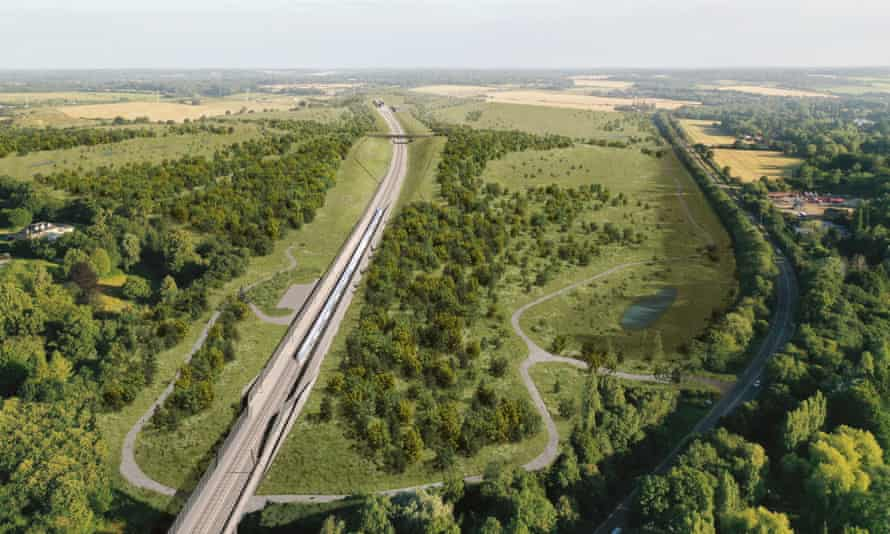 Another architect's impression showing how the HS2 line and the surrounding pasture, wetland and grassland will appear.