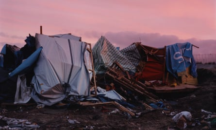 An eerie memorial ... Harley Weir's photograph of the demolished refugee camp at Calais.