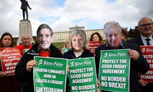 Sinn Fein holding a protest today against Brexit outside Stormont, in Belfast, Northern Ireland.