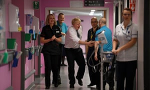 Boris Johnson with Mansfield's King's Mill NHS Hospital's chief nurse Suzanne Banks and divisional head of nursing Robin Binks.