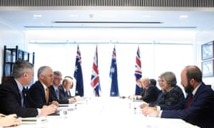 Theresa May meets Australian Prime Minister Malcolm Turnbull during a meeting on the sidelines of G20 Summit.