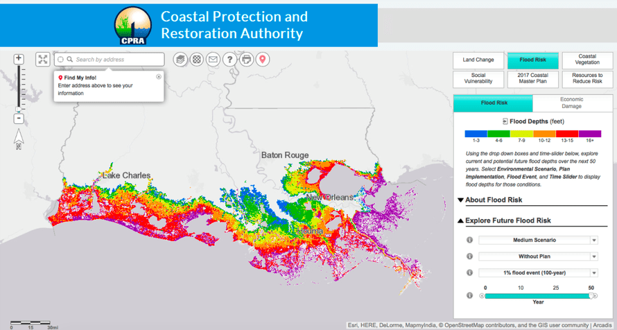 Flood risk in the Cameron Parisk of Louisiana.