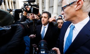 Michael Cohen leaves court. He said he lied to 'be loyal' to Trump and consistent with Trump's 'political messaging'.
