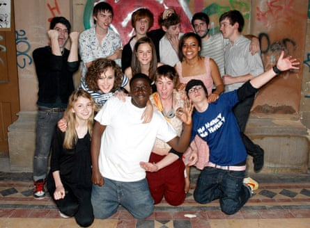 Kaluuya with the cast of Skins.