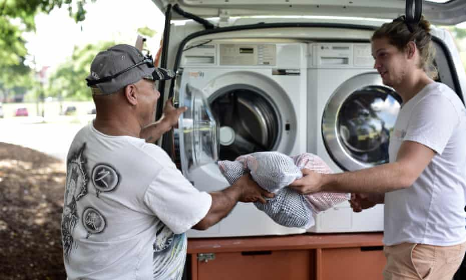 Homeless man uses Orange Sky Laundry