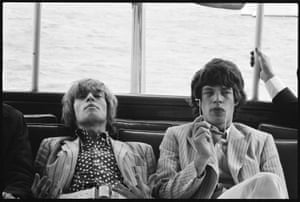 Brian Jones, left, and Mick Jagger, Hudson River. New York, 1966