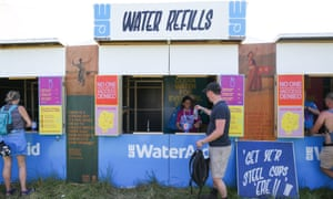 A WaterAid refill station at Glastonbury festival in Somerset.