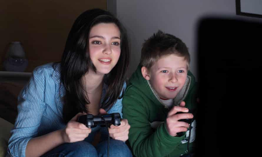 Teenagers playing computer games