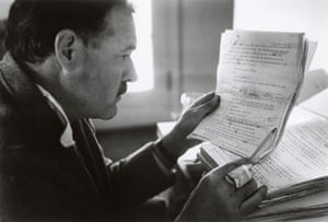 Hemingway revising the typescript of For Whom the Bell Tolls at Sun Valley, Idaho, in November 1940