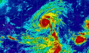 Satellite image of Super Typhoon Yutu. A super typhoon would be the equivalent of a category 4 or 5 hurricane.